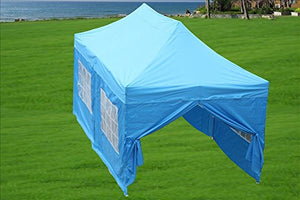 10'x20' Ez Pop up Canopy Party Tent Instant Gazebos 100% Waterproof Top with 6 Removable Sides Sky Blue - E Model By DELTA Canopies