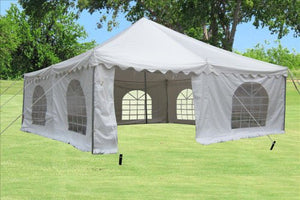 20'x20' PVC Pole Tent - Heavy Duty Wedding Party Canopy Shelter White - with Storage Bags - By DELTA Canopies