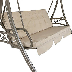 Sunnydaze Deluxe 3-Seat Patio Swing with Heavy Duty Steel Frame, Beige Cushions and Canopy