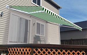 ALEKO AW10X8GWSTR00 Retractable Patio Awning 10 x 8 Feet Green and White Striped