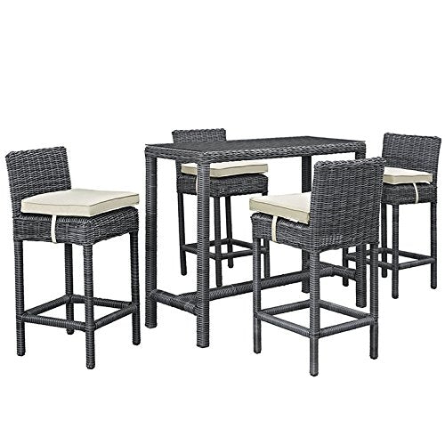 Summon 5 Piece Outdoor Patio Sunbrella Pub Set