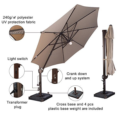 SORARA 11-1/2 Feet Offset Cantilever Umbrella Round Outdoor Patio Hanging Umbrella with Center Light, Cross Base & 4 pcs Base Weight and Umbrella Cover, Beige