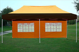 10'x20' Pop UP Canopy Wedding Party Tent Instant EZ UP Canopy Black/Orange - F Model Commercial Frame By DELTA