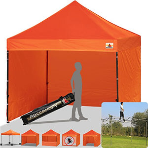 ABCCANOPY Commercial 10x10 Instant Canopy Craft Display Tent Portable Booth Market Stall with Wheeled Carry Bag & Full Walls, Bonus 4x Weight Bag & 10ft Screen Wall & 10ft Half Wall (orange)