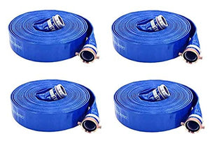 "Abbott Rubber PVC Discharge Hose Assembly, Blue, 2"" Male X Female NPSM, 65 psi Max Pressure, 50' Length, 2"" ID (4-(Pack))"