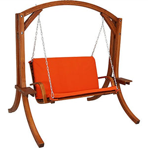 Sunnydaze Deluxe 2 Person Wooden Patio Swing with Burnt Orange Cushions for Patio, Deck or Yard