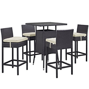 5-Piece Classy Patio Bar Set Made of Woven Rattan and Aluminum Frame, 4 Barstools with Cozy Cushions and 1 Glass Top Square Table, Epsresso/Mocha + Expert Home Guide by Love US