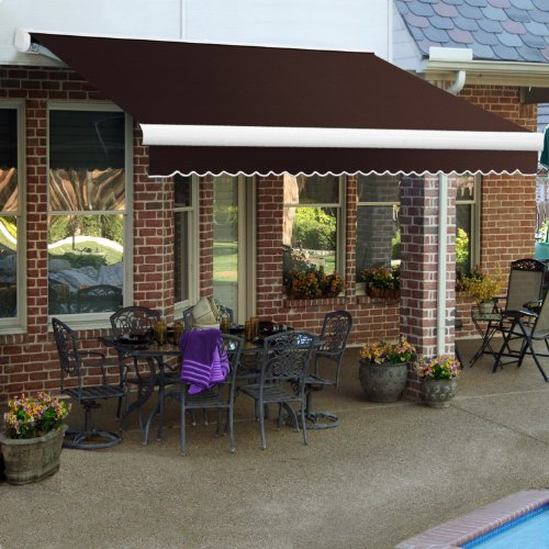Awntech 10-Feet Key West Manual Retractable Awning, 96-Inch Projection, Brown