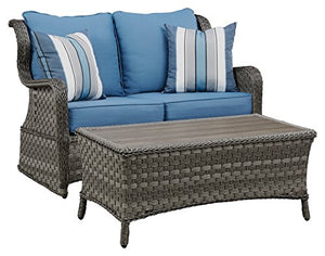 Ashley Furntiure Signature Design - Abbots Court 2-Piece Outdoor Set - Gliding Loveseat & Table - Wicker Resin - Rust Free Aluminum - Blue & Gray