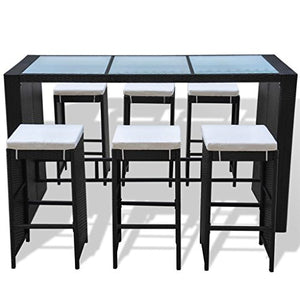 Daonanba Durable Garden Bar Set Outdoor Furniture Set Stable Sturdy Bar Table Stool Waterproof PE Rattan Black 13 Pcs