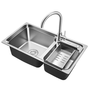 30In Kitchen Sink, 304 Stainless Steel Kitchen Sink with Drain Basin, Double Sink, Sink, Retractable.