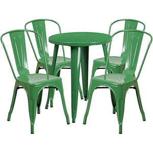 "Bowery Hill 5 Piece 24"" Round Metal Patio Bistro Set in Green"