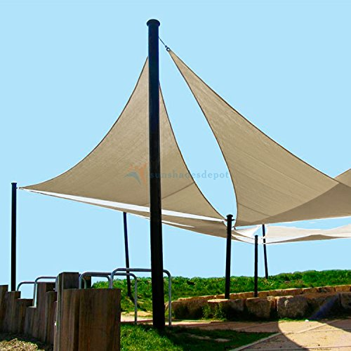 Sunshades Depot 23'x23'x23' Equilateral Triangle Waterproof Knitted Shade  Sail With 8 inch Hardware Kit Curved Edge Beige 220 GSM UV Block Pergola