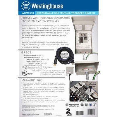 Westinghouse WHMTS50A 210076 50 Amp Manual Transfer Switch