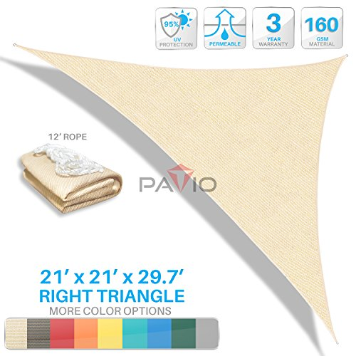 Patio Paradise 21'x21'x29.7' Beige Sun Shade Sail Right Triangle Canopy - Permeable UV Block Fabric Durable Patio Outdoor - Customized Available