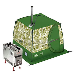 "Mobiba Portable Mobile Sauna Tent MB-10A (3-4 pers.) + Wood Heater-Stove ""Mediana-5"""