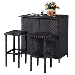 3 Pcs. Brown Outdoor Patio Rattan Wicker Bar Set Table & 2 Stools Furniture