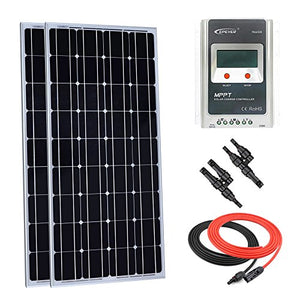 Giosolar 200 Watt Monocrystalline Solar Panel Kit Off-Grid: 2pcs 100W Mono Solar Panel + 20A LCD MPPT Charge Controller + MC4 Y Branch Connector + Solar Cable