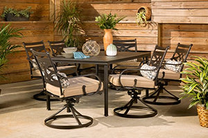"Hanover MCLRDN7PCSQSW6-TAN Montclair 7-Piece Set in Country Cork with 6 Swivel Rockers and a 40"" x 67"" Dining Table Outdoor Furniture, Tan"