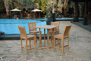 Tortuga Outdoor Teak 5pc Bar Set - Outdoor Patio Bar Set with Stools
