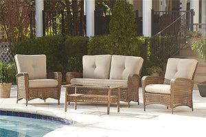 Cosco Outdoor Conversation Set with Cushions and Coffee Table, 4 Piece, Amber Wicker with Tan Cushions