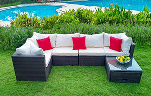 6-piece Outdoor Patio Furniture Couch Set with Coffee Table, All-Weather Wicker