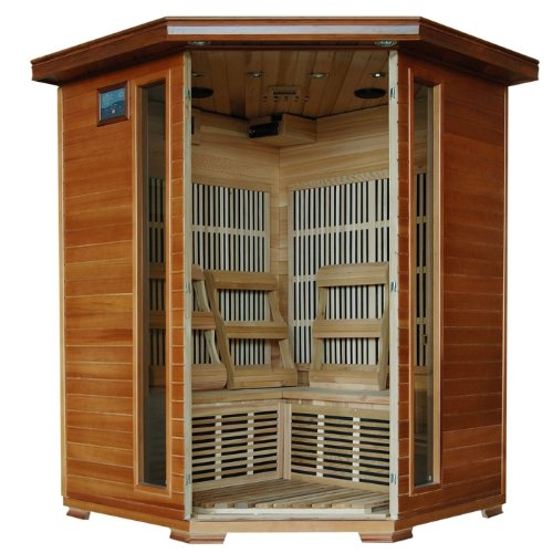 3 Person Sauna Corner Fitting Red Cedar Wood Infrared FIR FAR Carbon Heaters Walls and Floor Heater - Stereo CD Player MP3 Plug-in - Model SA1312