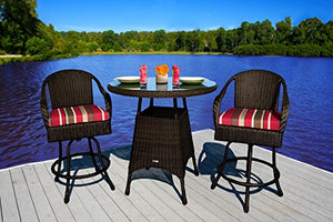 Tortuga Outdoor 3 Piece Outdoor Bar Set - Dark Wicker (Monserrat Sangria)