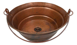 "15"" Round Copper Vessel BUCKET Bath Sink in a Natural Fire Patina With Lift & Turn Drain by SimplyCopper"