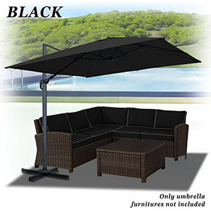 Strong Camel 10'x10'Deluxe Off-Set Hanging Roma Offset Umbrella Tilt & 360 Rotation Patio Heavyduty Outdoor Sunshade Cantilever Crank(steel cross base is included) (Black)