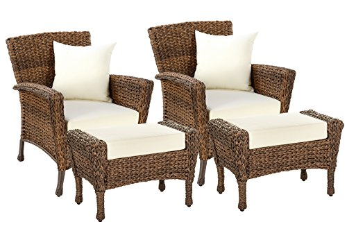 W Unlimited Rustic Collection Outdoor Garden Patio Light Brown Rattan Wicker Furniture Set Deep Seating Aluminum Frames Coffee Table (2 Chairs, 2 Ottoman)