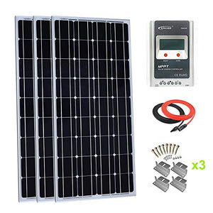 Giosolar 300 Watt Monocrystalline Solar Panel Kit with LCD MPPT 30A Solar Charge Controller for RV Boat Off-Grid System