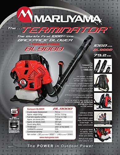 Maruyama BL9000HA BackPack Blower Hip Throttle 1068 CFM - 79.2cc Engine