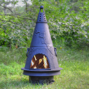 The Blue Rooster Outdoor Chimenea Fireplace - Garden in Charcoal Finish (Without Gas)