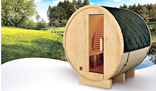 Symbolic Spas 4 Person Outdoor Indoor 6 Ft Barrel Steam Sauna Grade A Finland Pine Wood - 6KW Wet Dry Heater 220V, 28 Amp - Lava Rocks - 1 Year Parts Warranty