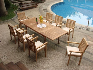 "Grade-A Teak Wood Luxurious Dining Set Collections: 9 Pc - 94"" Rectangle Table and 8 Hari Stacking Arm Chairs #TSDSHR7"