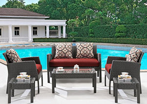 Hanover Chelsea 6 Piece Patio Set, Crimson Red