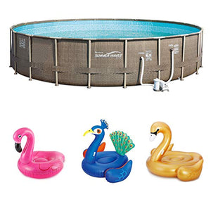 Summer Waves Elite 22 Foot Pool Kit + Pink Flamingo, Peacock and Swan Floats