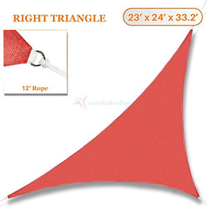 Sunshades Depot 23' x 24' x 33.2' Sun Shade Sail 180 GSM Right Triangle Permeable Canopy Rust Red Custom Size Available Commercial Standard