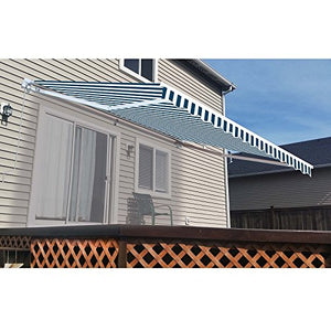 ALEKO AW10X8BWSTR03 Retractable Patio Awning 10 x 8 Feet Blue and White Striped