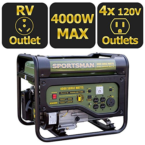 Sportsman 4,000/3,500-Watt Gasoline Powered Portable Generator RV Outlet