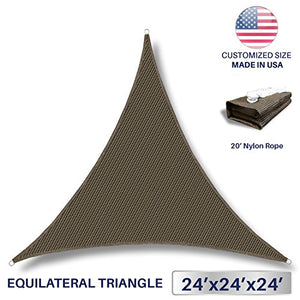 Windscreen4less Sun Shade Sail for Outdoor Patio Backyard UV Block Awning with Steel D-rings 24ft x 24ft x 24ft Brown Coffee Triangle - Custom Size Available