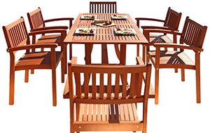 Malibu V187SET4 Eco-Friendly 7 Piece Wood Outdoor Dining Set  with Rectangular Curvy Table and Stacking Chairs