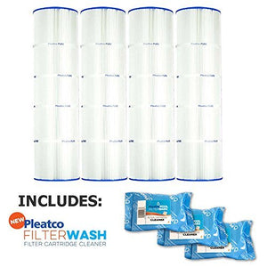 Pleatco Cartridge Filter PCC105-PAK4 Pack of 4 Pentair Clean & Clear Plus 420 Waterway CW425 C-7471 w/ 3x Filter Washes
