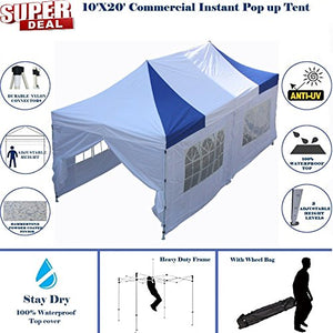 10'x20' Pop up Canopy Wedding Party Tent Instant EZ Canopy Blue White - F Model Commercial Grade Frame By DELTA
