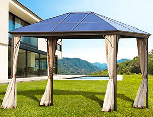 Solaura Patio Furniture Hard PC Top Gazebo 12' x 10' Outdoor Garden Pavilion Metal Frame Light Brown Tent Cover with Mosquito Nets & Privacy Curtains