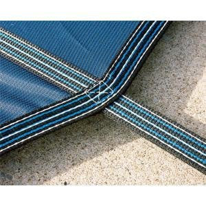 16'x32' Mesh - CES Rectangle Inground Safety Pool Cover - 16 ft x 32 ft In Ground Winter Cover with 4'x8' Center End Steps (GREEN)