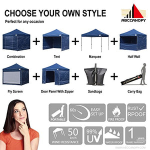 (18+ colors)AbcCanopy Commercial 10x10 Ez Pop up Canopy, Party Tent, Fair Gazebo with 6 Zipped End Sidewalls and Roller Bag Bonus 4x Weight Bag (navy blue)