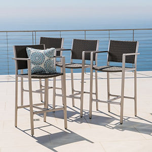 Christopher Knight Home 300356 Cape Coral Outdoor Wicker Barstools (Set of 4), Grey