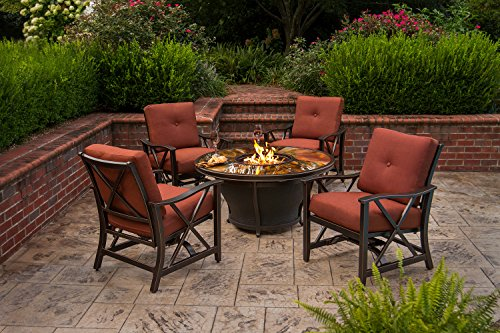 Oakland Living Moonlight Round Gas Firepit Table with Burner, Antique Bronze
